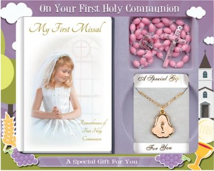 Girl Communion Gift Set with Pink Rosary