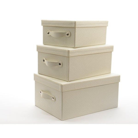 Artificial Ivory Leather Storage Box : Medium