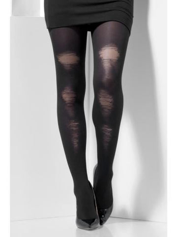 Opaque Black Distressed Tights