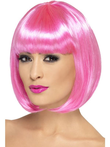 Neon Pink Partyrama Short Bob Wig With  Fringe