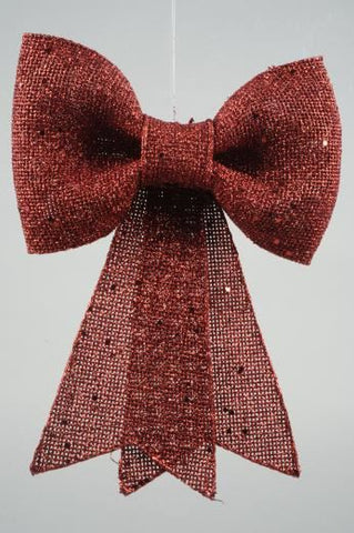Plastic Bow with Glitter with Hanger Red 13x14cm