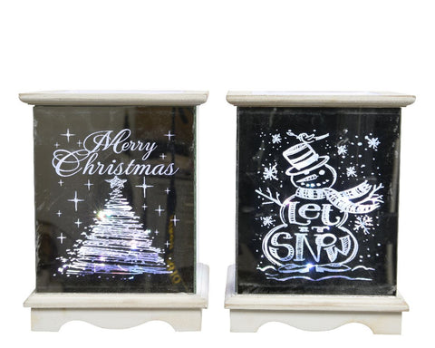 Christmas decoration, LED 3D effect white frame lantern, excludes batteries, 14x14x19cm - 15 lights, 2 assorted, 1 supplied