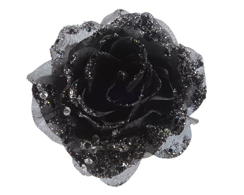 Rose On Clip With Glitter - Black