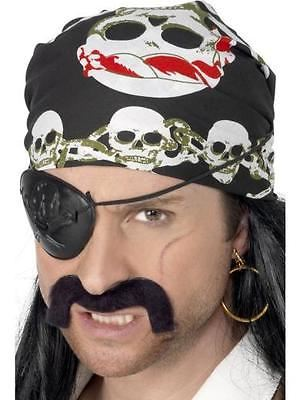 Smiffy's Pirate Bandanna Black and White with Skull and Crossbones Print [Toy...