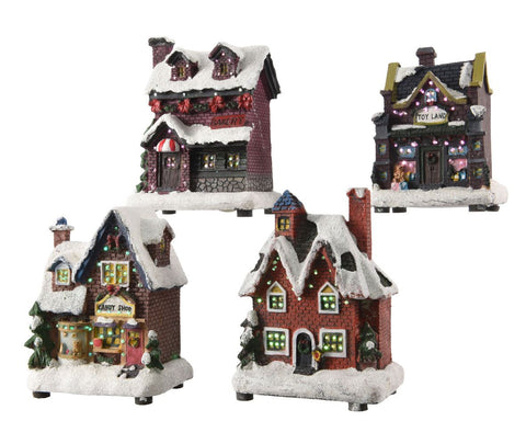 Christmas decoration, LED fiber optic house, excludes batteries, 5x9x12cm, 4 assorted, 1 supplied