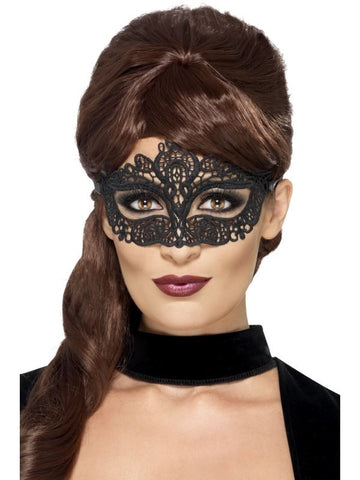 Black Embroidered Lace Filigree Eyemask