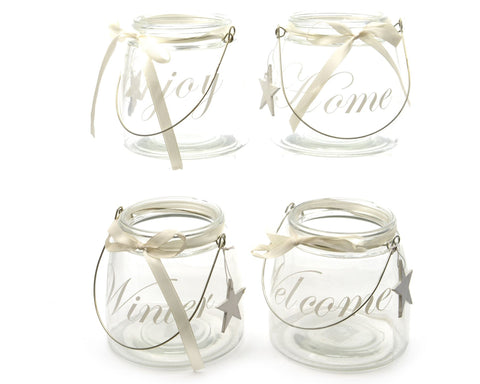 Glass Tealight Holder with Text 12.5x12cm  (4 assorted 1 supplied) - diameter 12.5x12cm