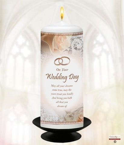 "Your Wedding Day; Peach Roses & Rings 6"" White"