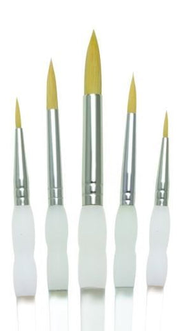 Soft Grip Gold Taklon Pack of 5 Brushes