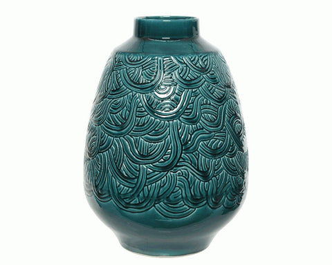 Patterened Teal Vase - Short