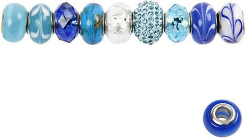 Glass Charm Beads D:13-15 Blue Ha