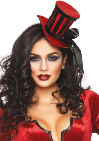 Leg Avenue Satin Top Hat With Velvet Stripes And Satin Bow Accent