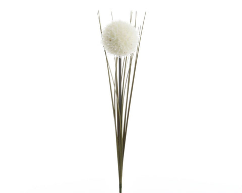 Christmas decoration, white silk allium on stem with frost finish, 7x66cm diameter, 1 supplied