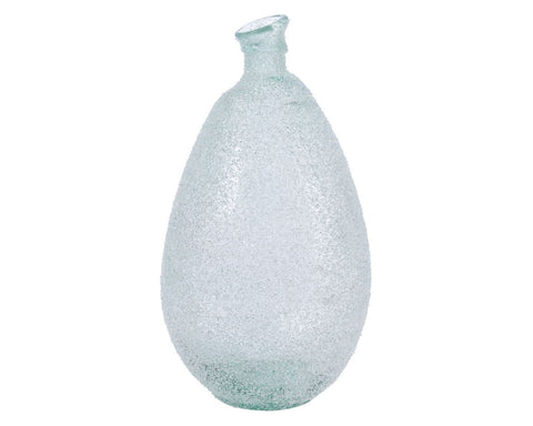 Recycled glass vase with ice finish, 25x47cm diameter, 1 supplied