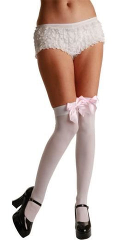 White Thigh Highs / Baby Pink Satin