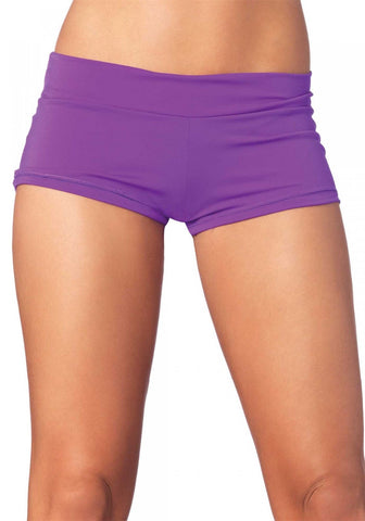Leg Avenue Spandex Boy Shorts: Large: Purple