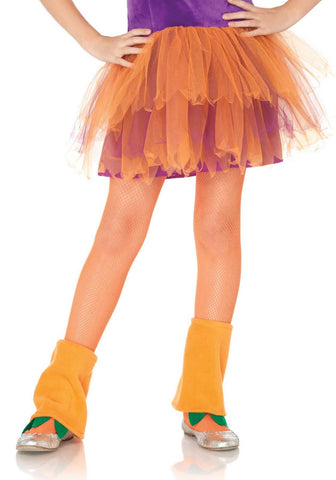 Leg Avenue Kids Fishnet Tights: L: Neon Orange