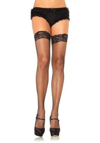 Spandex Fishnet Thigh Highs with Silicone Stay Up Lace Top