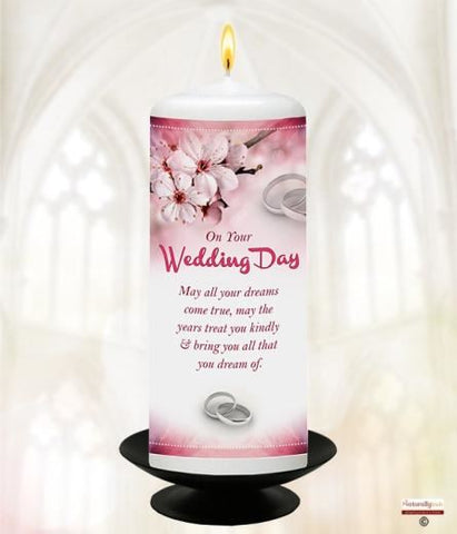 "Your Wedding Candle; Pink Orchids & Rings 6"" White"