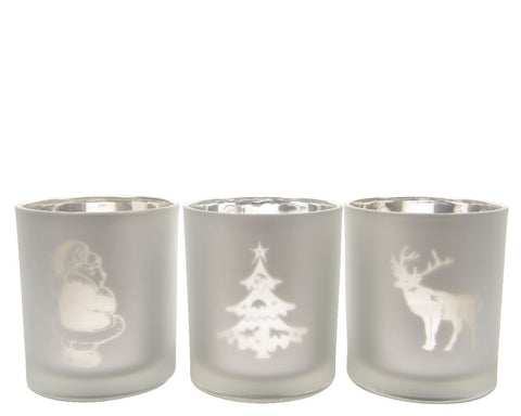 Christmas Tealight Holder 8x9cm (3 assorted 1 supplied) - diameter 8x9cm