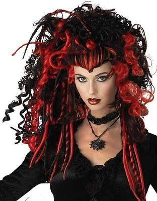 Black Widow Wig (Black/Red) / Adult Fancy Dress - One Size Fits Most
