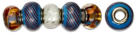 Glass/Metal Beads - Orange/Blue Swi