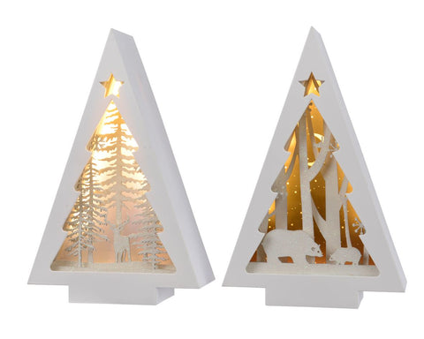 Christmas decoration, white LED triangle frame, 16x6.7x25cm, excludes batteries, 2 assorted, 1 supplied