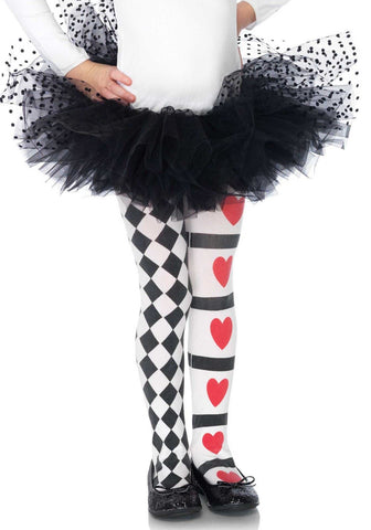 Leg Avenue Kids Harlequin and Heart Tights: XL (11-13yrs)
