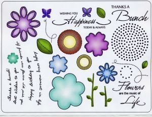 Button Florals Rubber Stamps