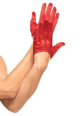 Leg Avenue Mini Cropped Satin Gloves : Red