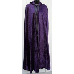 Adult Purple Velour Hooded Cape (Longer Length)