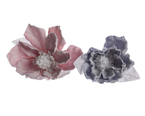 Flower on Clip with Snow 15x11cm (2 assorted 1 supplied)   - diameter 15x11cm
