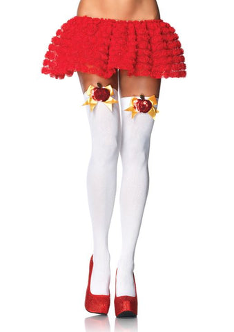 Leg Avenue Opaque Thigh High With Sequin Poison Apple Bow Top Accent