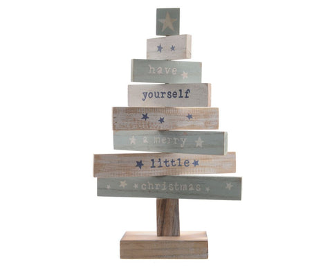 Christmas decoration, wooden tree with text, 20x6x35cm, 1 supplied