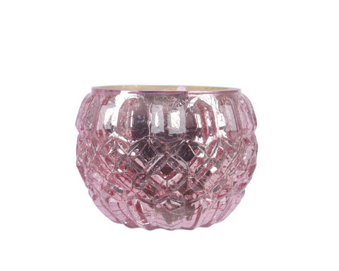 Pink tea light holder, 6cm diameter and 8cm height, 1 supplied