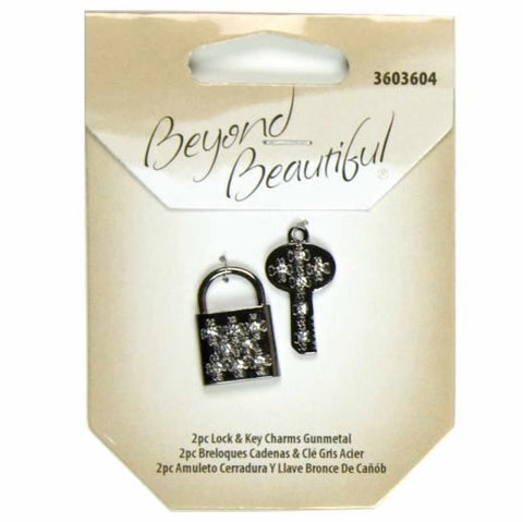 Metal Lock & Keys Charms - Gunmetal