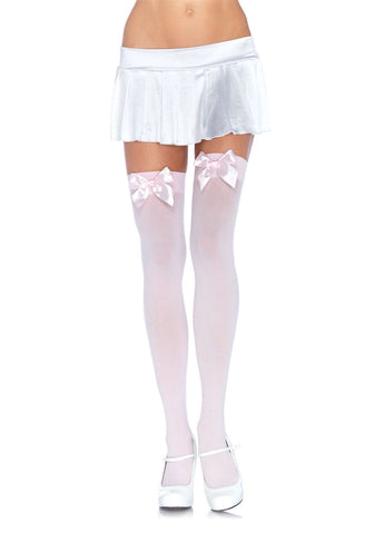 Leg Avenue Opaque Thigh Highs: White: Pink Bow