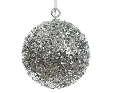 Christmas decoration, silver foam bauble with sequins, 30cm diameter, 1 supplied
