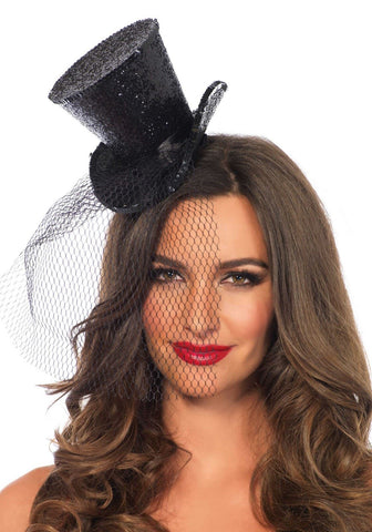 Leg Avenue Black Mini Glitter Top Hat with Veil