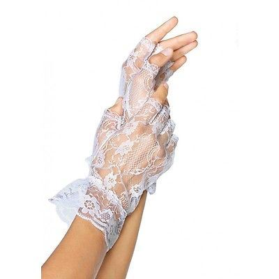Leg Avenue Lace Fingerless Wrist Ruffle Gloves - White