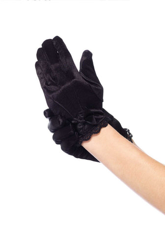 Child Leg Avenue Lace Trimmed Satin Gloves With Bow Accent : Large (Age 7-10 Years) : Black