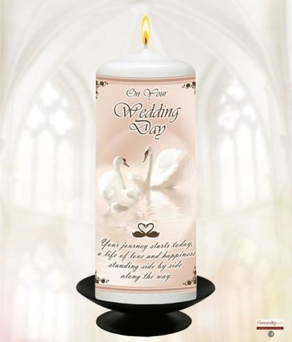 "Your Wedding Candle; Heart & Swan 6"" White"
