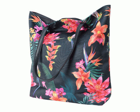 Polyester Velvet Bag Tropical With Leather Handle