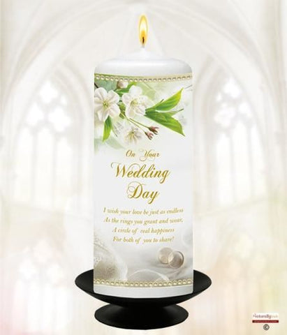 "Your Wedding Candle; White Crchids & Rings 6"" White"