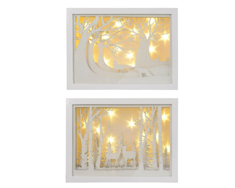 Christmas decoration, white LED rectangle frame, 30x6.5x21.5cm, excludes batteries, 2 assorted; forest or deer, 1 supplied