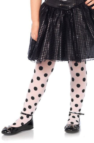 Child Leg Avenue Sheer Printed Polka Dot Tights:  M