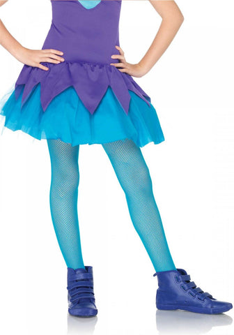 Leg Avenue Kids Fishnet Tights: Xl: Neon Blue