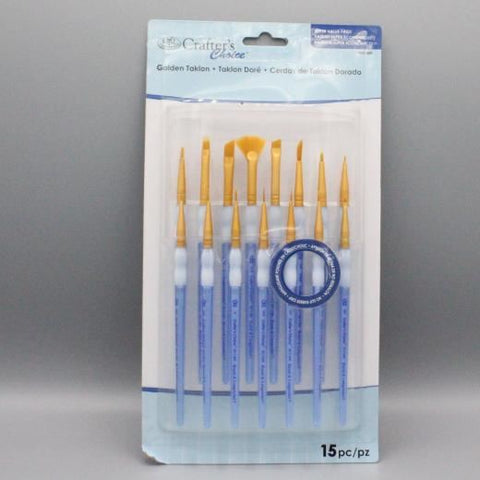 Crafters Choice 15 Piece Golden Taklon Brush Set (301)