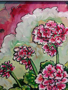 """Pretty in Pink Geraniums"" - Giclee Reproduction"