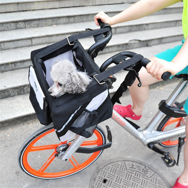 Pet Puppy Bicycle Basket Storage Puppy Ride Bike Canopy Dog Cat Carrier Safety